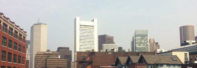 A view of downtown Boston from the Tapforge headquarters.